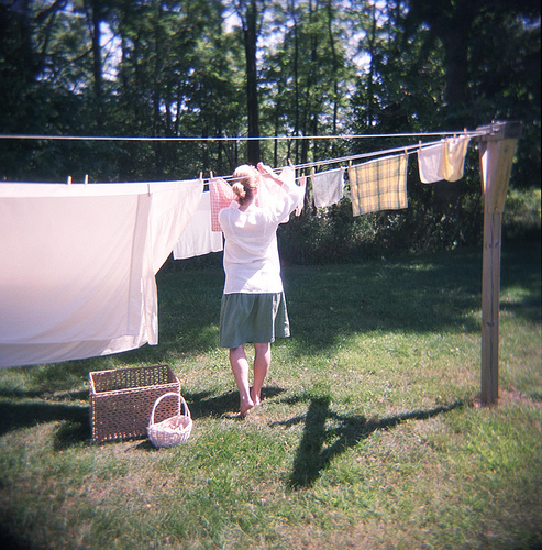 Hanging Clothes on Laundry Line
