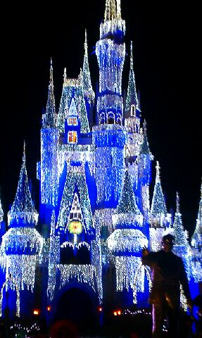 Cinderella's Castle with Holiday Lights at Magic Kingdom Walt Disney World Orlando
