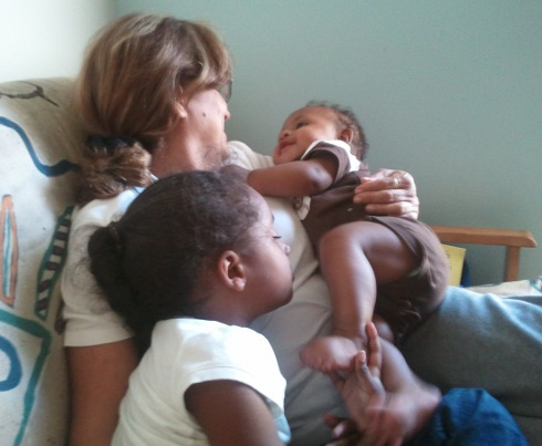 My mami with my kids
