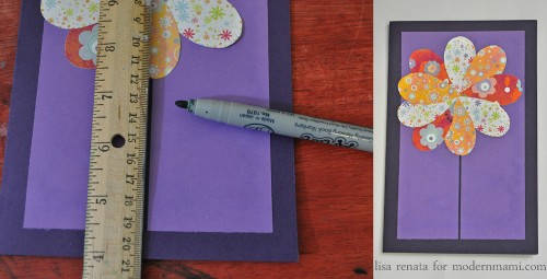 Drawing the Stem of Flower for Homemade Mother's Day Card Craft for Kids