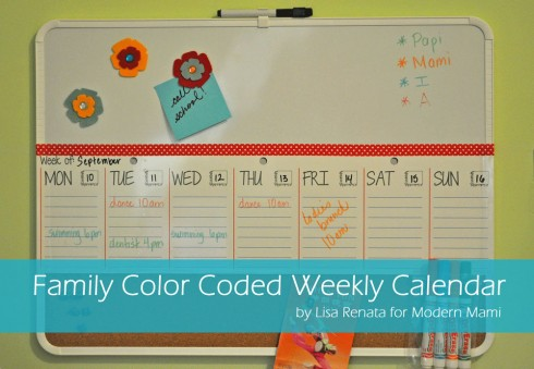 Family Color Coded Weekly Calendar Tutorial