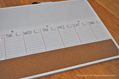 Attach Dry-erase weekly planner cling to dry-erase board