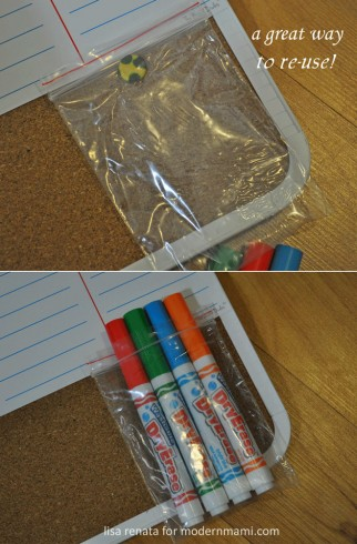 Reuse plastic pouch to hold dry-erase markers