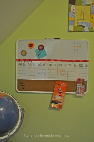 Completed dry-erase and magnetic family weekly calendar schedule