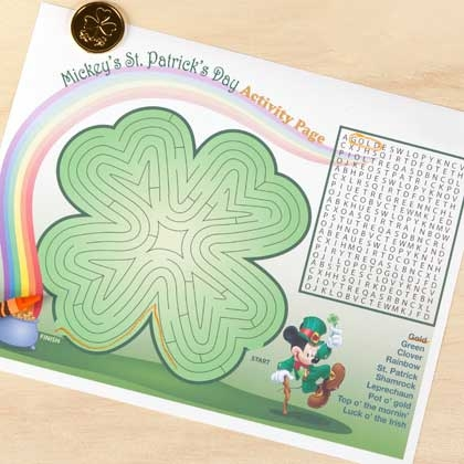 St. Patrick's Day Printable Mickey Activity Page