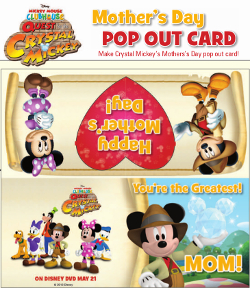 Quest for Crystal Mickey Mother's Day Printable Pop Out Card