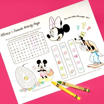 Mickey & Friends Printable Easter Activity Page