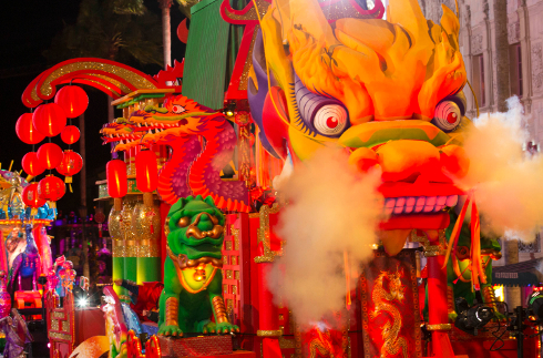 Chinese New Year Float for Mardi Gras Parade at Universal Studios Orlando