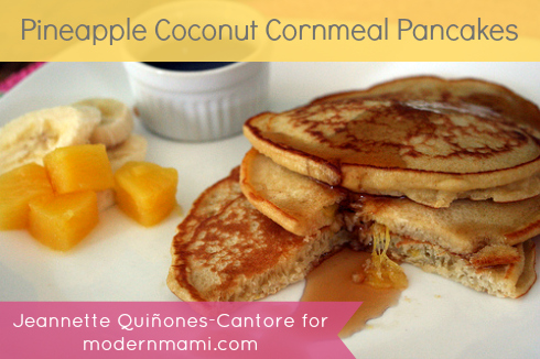 Pineapple Coconut Cornmeal Pancakes Recipe
