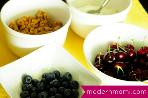 Blueberry and Cherry Yogurt Parfait Ingredients