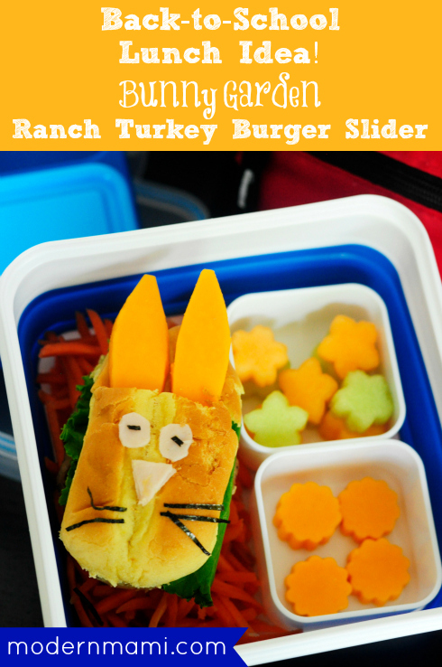 School Lunch Idea: Bento Bunny Garden with Ranch Turkey Burger Slider