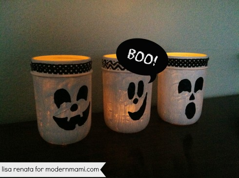 DIY Halloween Ghost Mason Jar Lanterns
