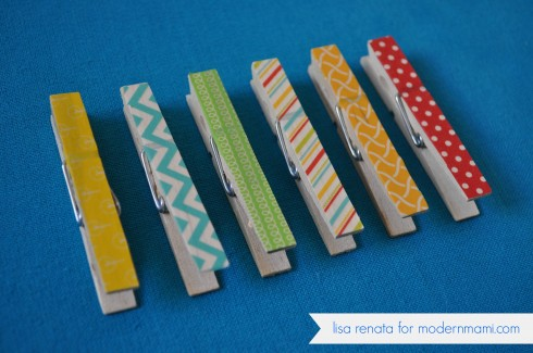 DIY Kids' Artwork Display, Decorated Clothespins