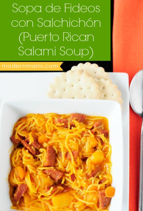 Sopa de Fideos con Salchichón (Puerto Rican Salami Soup) Recipe