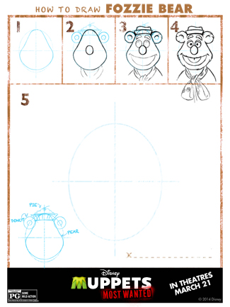 The Muppets Printable Activity Sheet for Kids: Learn How to Draw Fozzie Bear