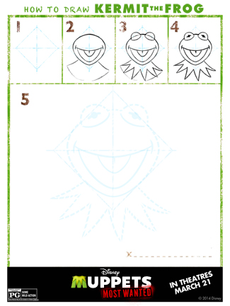 The Muppets Printable Activity Sheet for Kids: Learn How to Draw Kermit