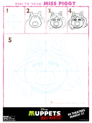 The Muppets Printable Activity Sheet for Kids: Learn How to Draw Miss Piggy