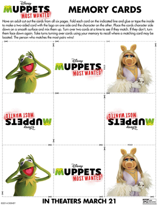 The Muppets Printable Memory Card Game Activity Sheet for Kids