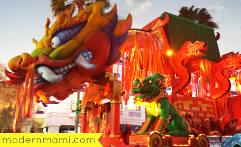 Chinese New Year Float for Mardi Gras Parade, part of Mardi Gras Grand Celebration at Universal Studios Orlando