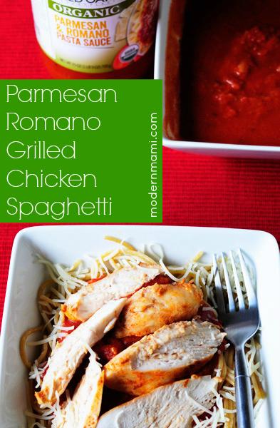Parmesan Romano Grilled Chicken Spaghetti