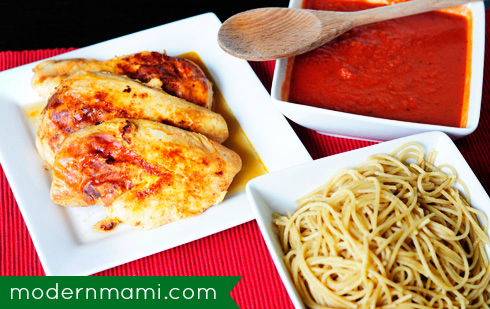 Parmesan Romano Grilled Chicken Spaghetti, Easy Weeknight Meal