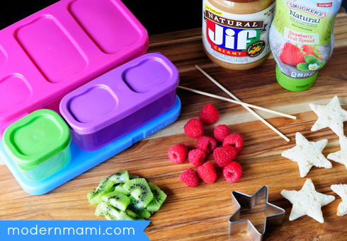School Lunch Idea: PB & J Fruit Kabobs, Ingredients & Materials Needed