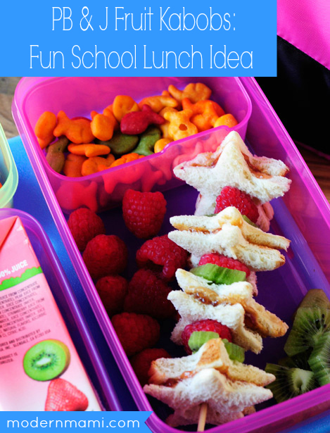 School Lunch Idea: PB & J Fruit Kabobs