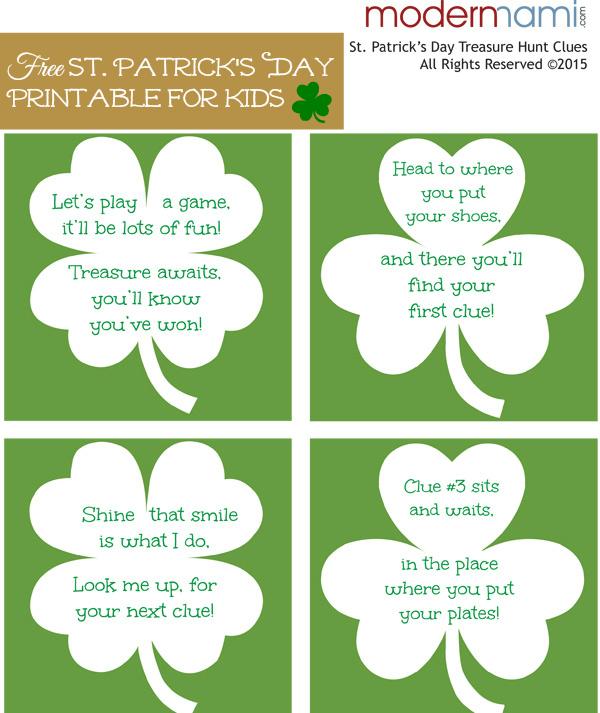 Fun St Patricks Day Treasure Hunt For Kids Free Printable