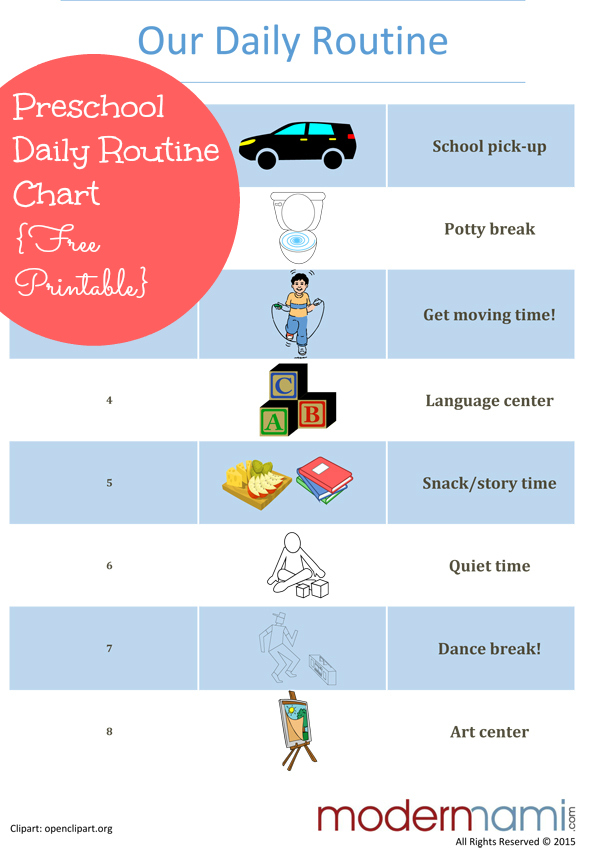 Sample Afternoon Routine for Preschoolers {Free Printable